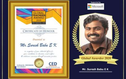 Warmest congratulations to our Social Science HOD Mr. Suresh Babu